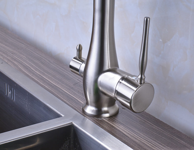 Milan Brushed Nickel LED Kitchen Faucet with Pull Out Sprayer & Rotatable Swivel - eCasaMart