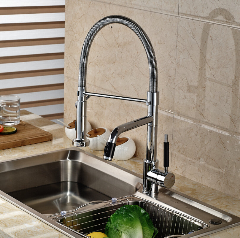 Megara Deck Mount Chrome Single Hole Kitchen Faucet with Pull Down Sprayer - eCasaMart