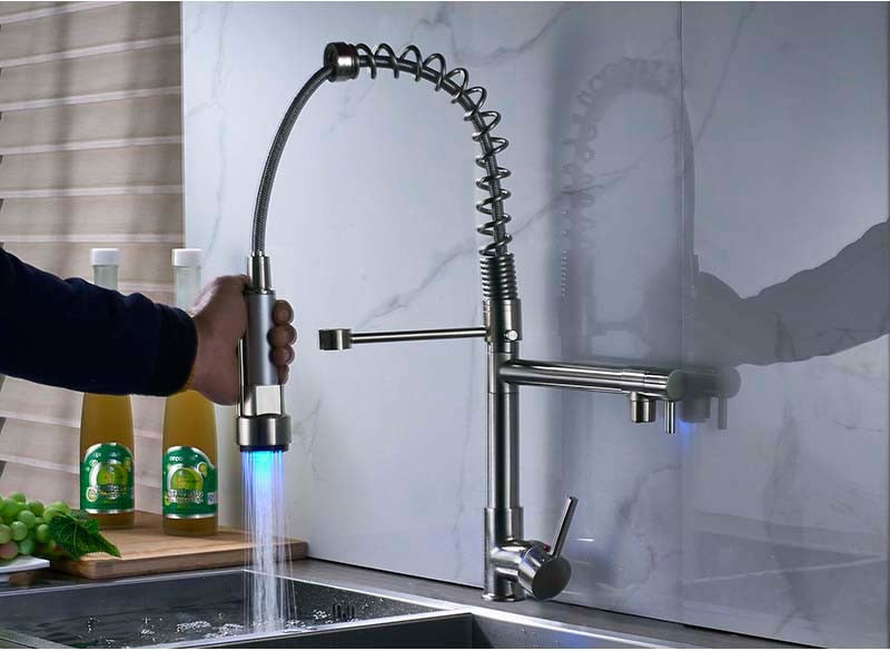 Bari Deck Mount Dual Spout Kitchen Faucet with LED Sprayer & Hot / Cold Mixer - eCasaMart