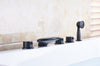 Naples Deck Mount Oil Rubbed Bronze Bathtub Faucet with Waterfall Spout - eCasaMart