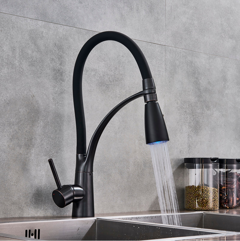 Catania Deck Mount Pull Down Kitchen Faucet with LED Spray & Hot / Cold Water Mixer - eCasaMart