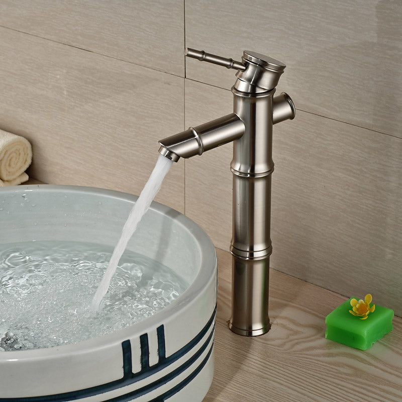 Hanakapiai Deck Mount Brushed Nickel Single Handle Single Hole Bamboo Bathroom Faucet - eCasaMart