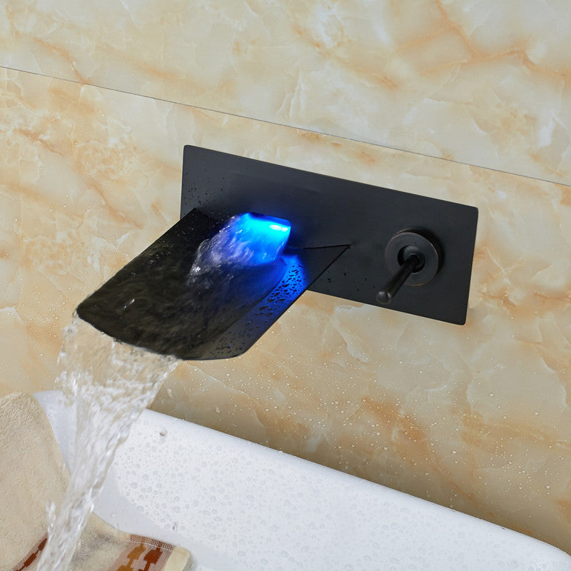 LED Galss Bathroom Sink Faucet Oil Rubbed Bronze Water Flow Waterfall Wall Mount