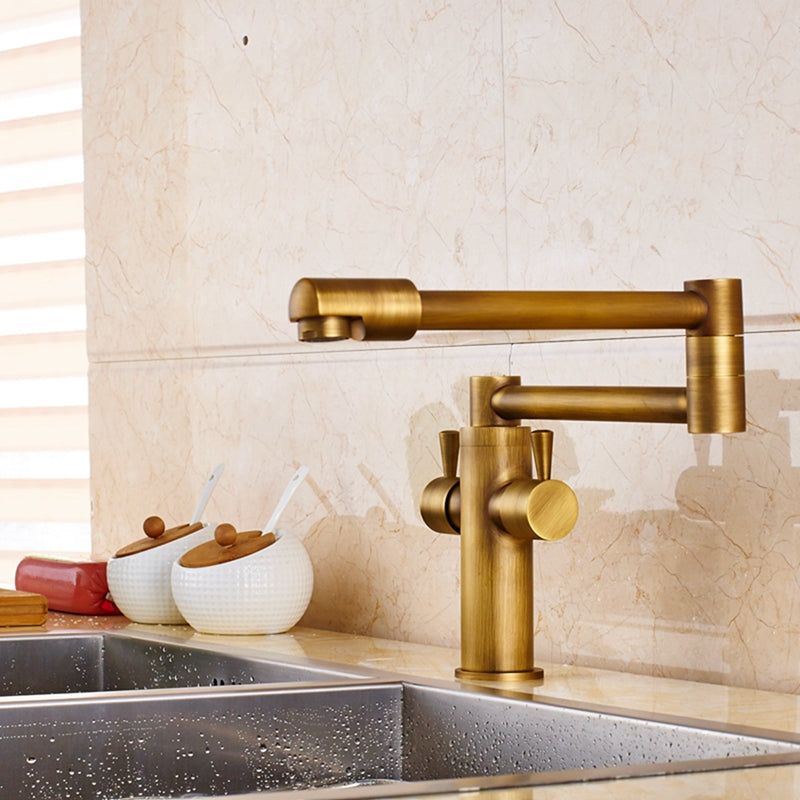 Holmes Dual Handle Deck Mounted Antique Brass Pot Filler Kitchen Sink Faucet with Rotatable Swivel  - eCasaMart