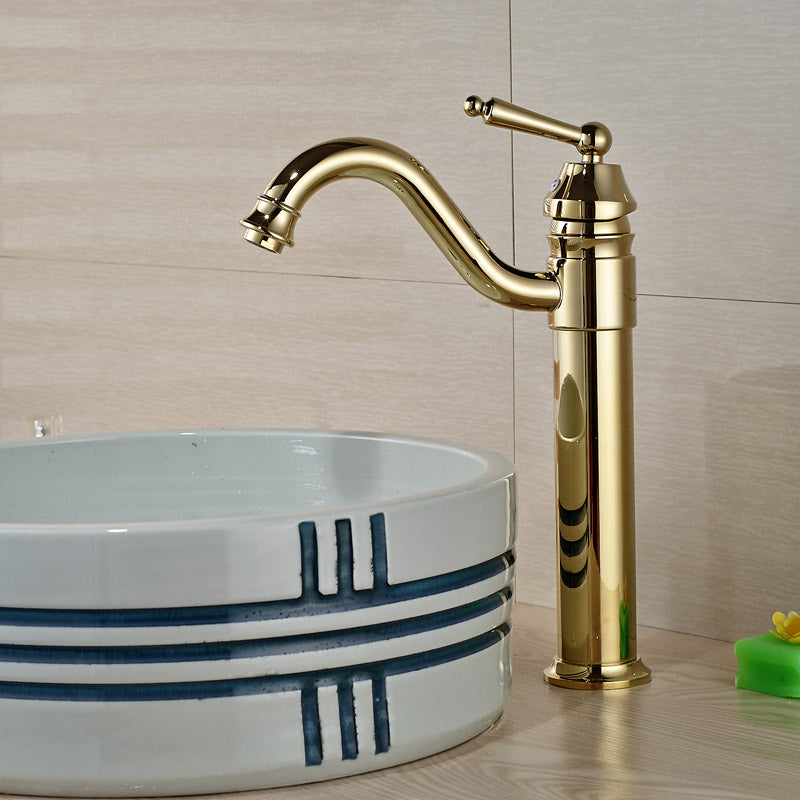 Huron Deck Mount Single Handle Gold Finish Single Hole Bathroom Faucet - eCasaMart
