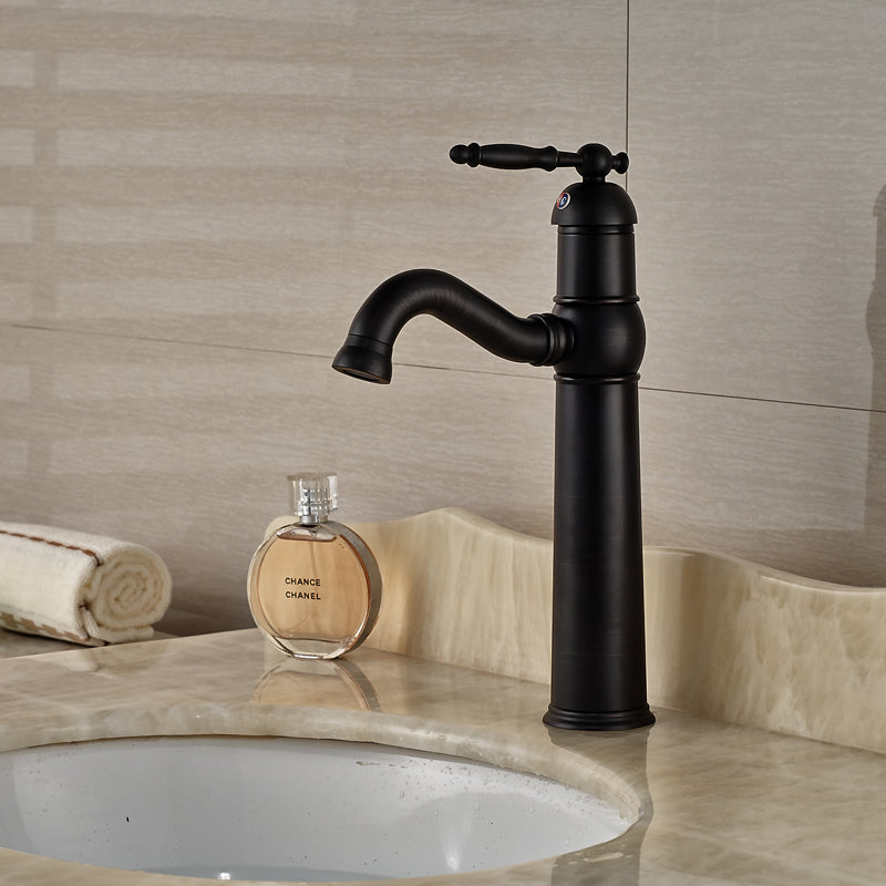 Illilouette Deck Mount Oil Rubbed Bronze Single Handle Bathroom Faucet - eCasaMart