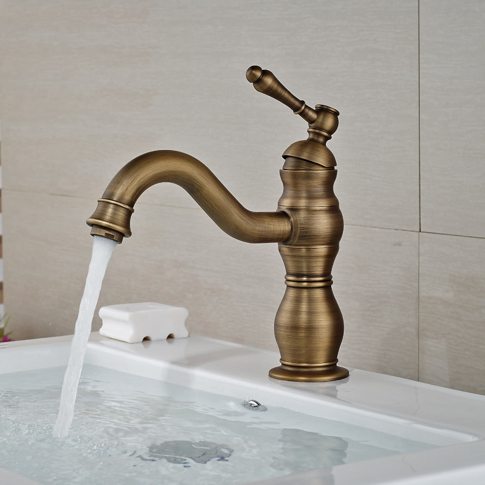 Ipasha Deck Mount Single Hole Antique Brass Bathroom Sink Faucet with Hot / Cold Water Mixer - eCasaMart