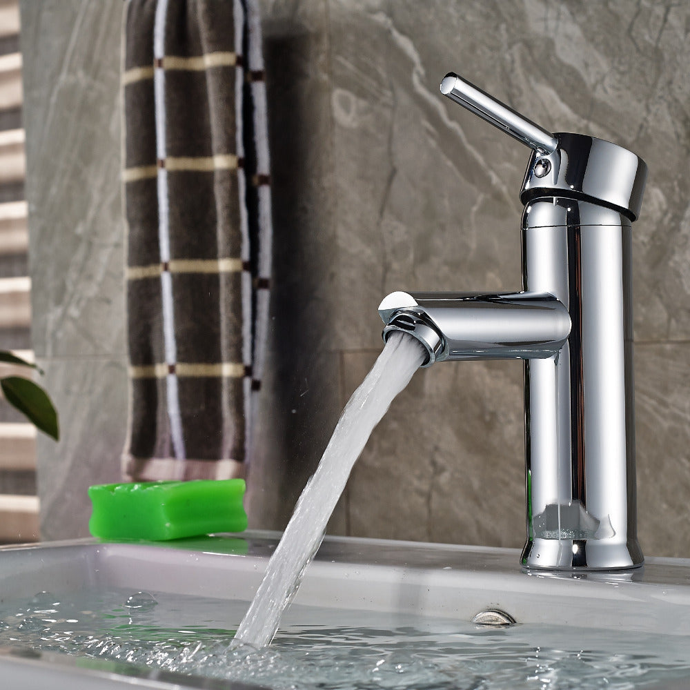 Issaqueena Deck Mount Single Hole Single Handle Chrome Finish Bathroom Sink Faucet - eCasaMart