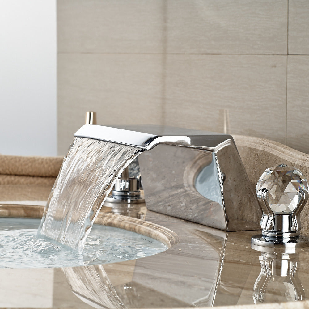 Kaaterskill Deck Mount Three Hole Dual Handle Chrome Bathroom Faucet with Hot and Cold Water Mixer - eCasaMart