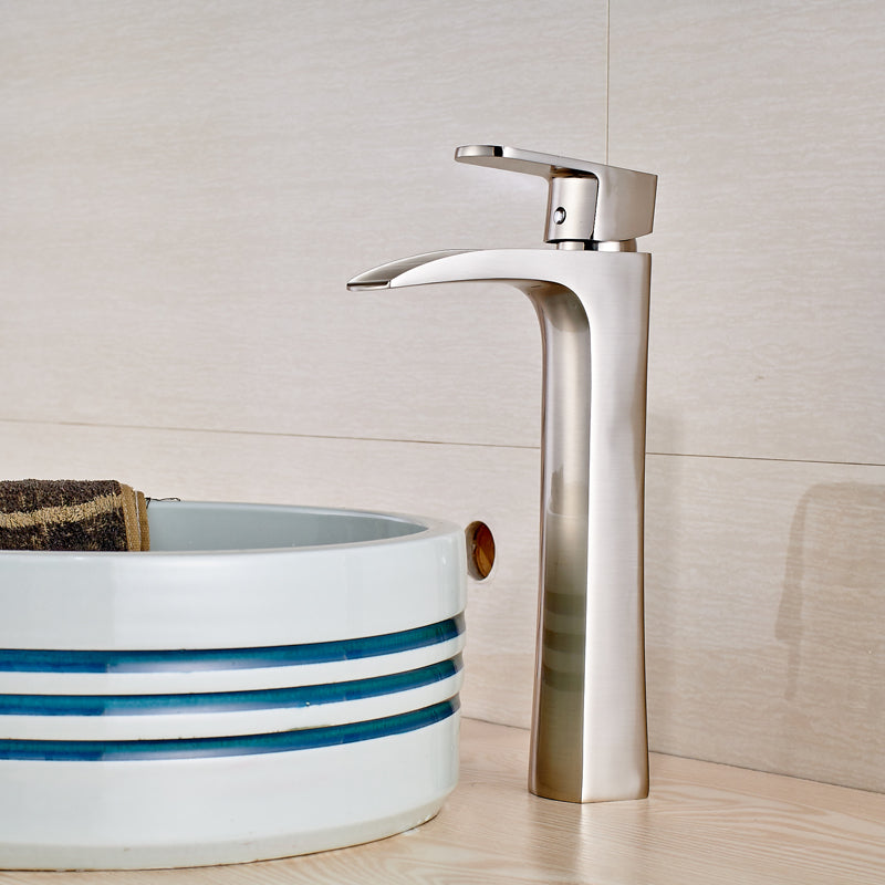 Kahiwa Deck Mount Brushed Nickel Single Handle Single Hole Bathroom Faucet with Waterfall Spout - eCasaMart