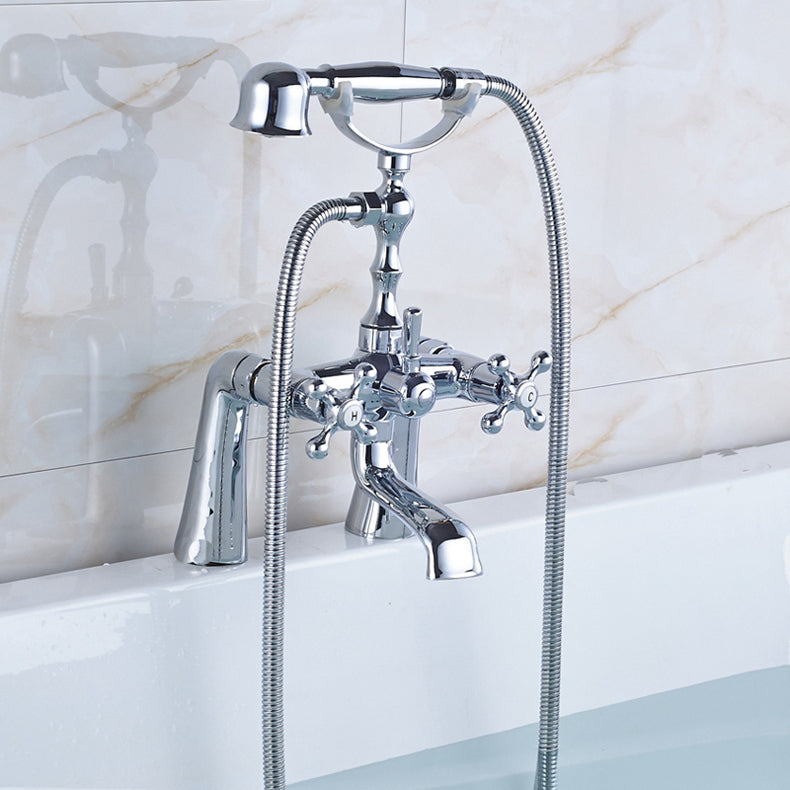 Kakagon Chrome Deck Mount Telephone Tub Faucet with Hot & Cold Mixer - eCasaMart