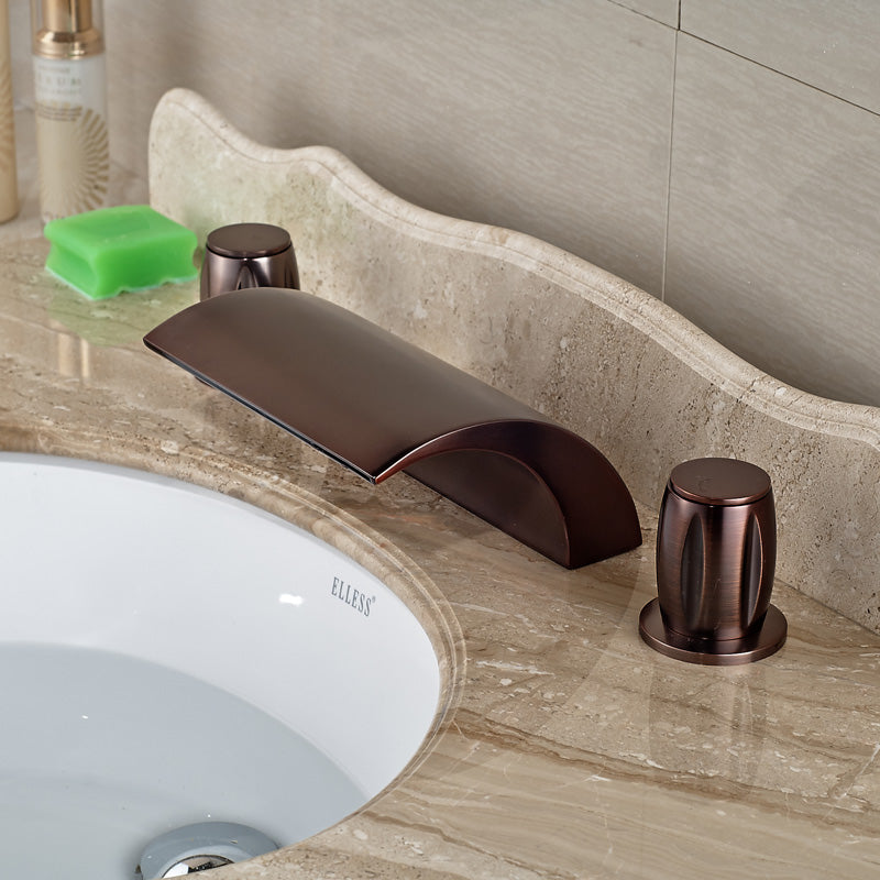 Kasnyku Oil Rubbed Bronze Deck Mount Dual Handle Bathroom Faucet - eCasaMart