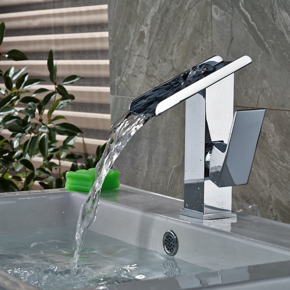 Koosah Deck Mount Single Hole Single Handle Chrome Waterfall Bathroom Sink Faucet - eCasaMart