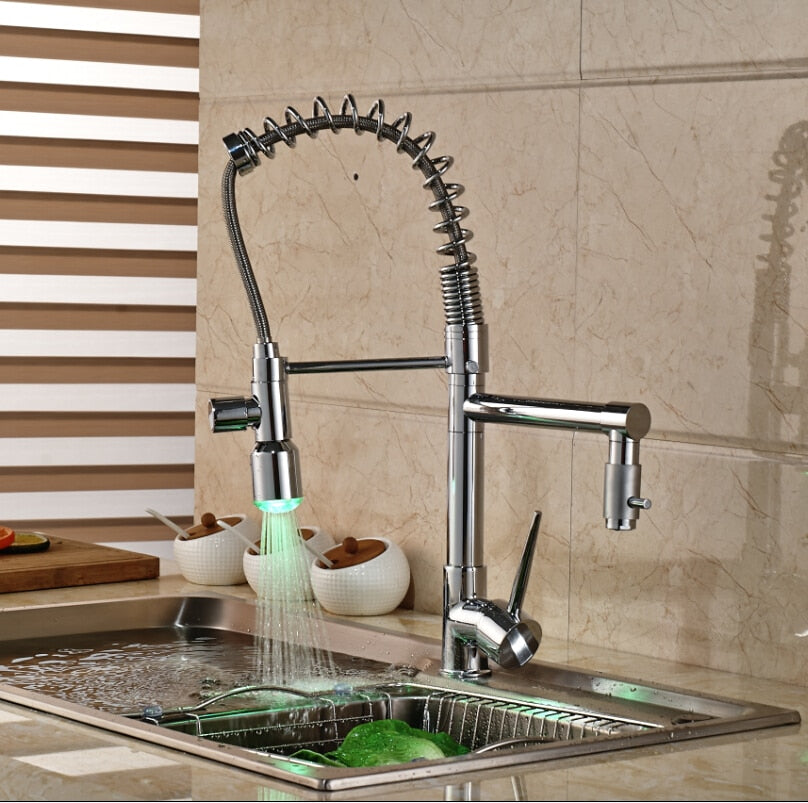 Matera Deck Mount LED Kitchen Sink Faucet with Hot & Cold Mixer - eCasaMart