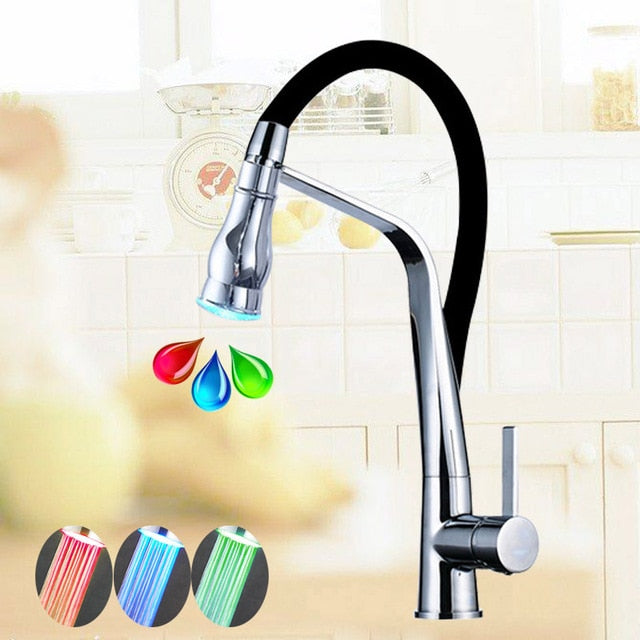 Padua Deck MountChrome LED Kitchen Faucet with Pull Down Sprayer & Hot / Cold Mixer - eCasaMart