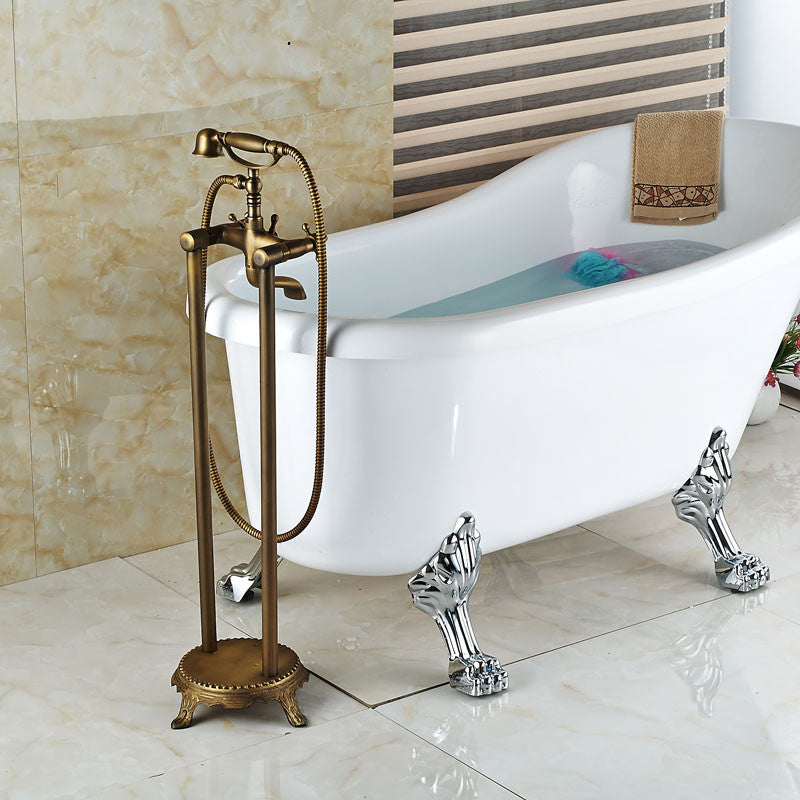 Lamar Antique Brass Clawfoot Tub Faucet with Handshower - eCasaMart