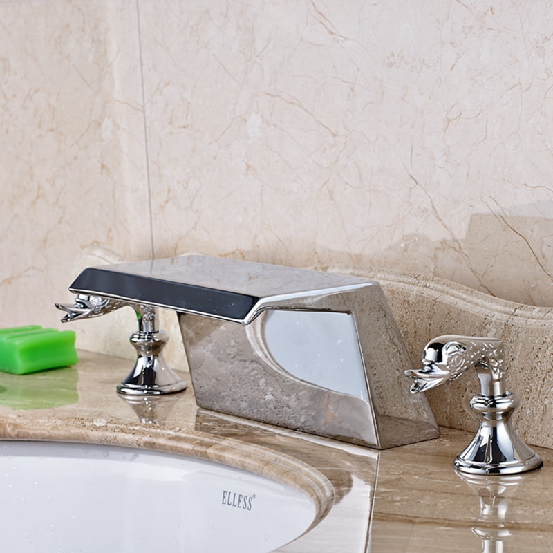 Linville Deck Mount Dual Swan Handle Chrome Bathroom Sink Faucet with Hot and Cold Water Mixer - eCasaMart