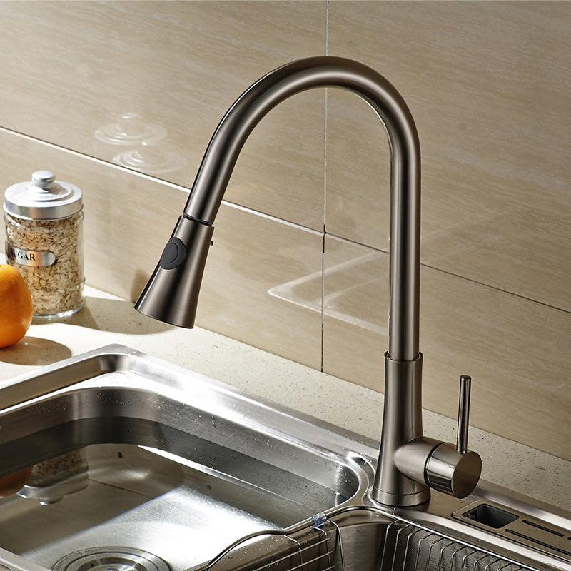 Livorna Brushed Nickel Kitchen Sink Faucet with Pull Out Sprayer - eCasaMart