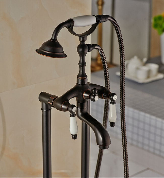 Livorno Oil Rubbed Bronze Freestanding Clawfoot Tub Faucet with Hand shower - eCasaMart
