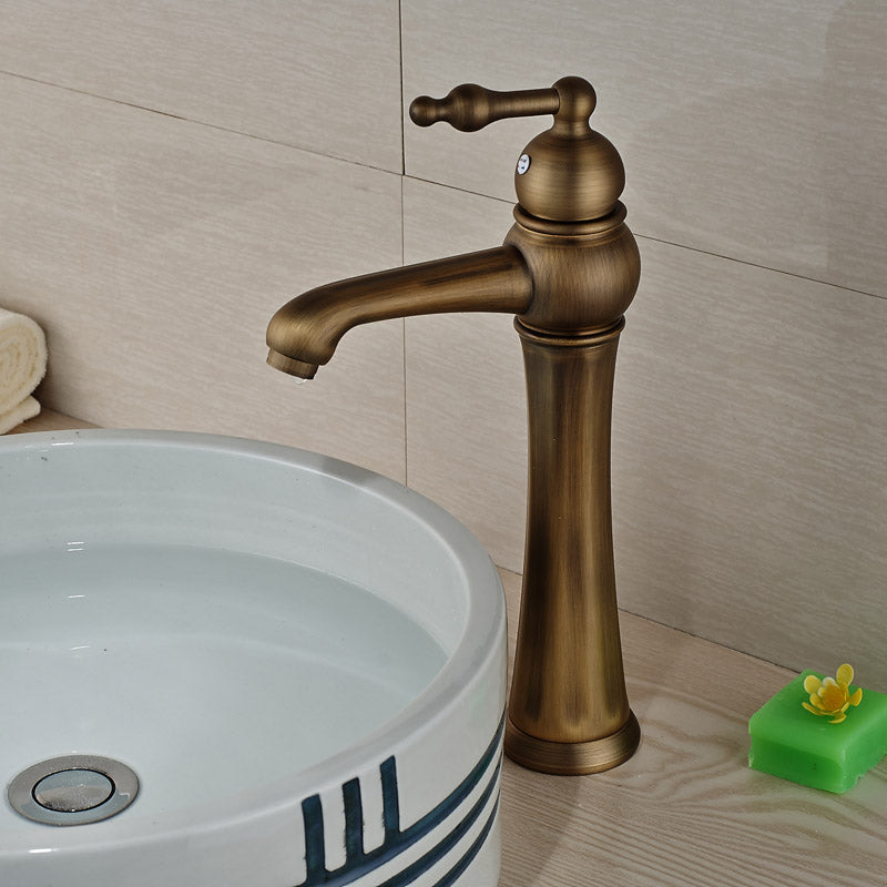 Mackinac Single Handle Single Hole Antique Brass Bathroom Faucet with Hot / Cold Water Mixer - eCasaMart