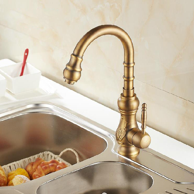 Magnolia Single Handle Antique Brass Kitchen Sink Faucet with Rotatable Swivel - eCasaMart