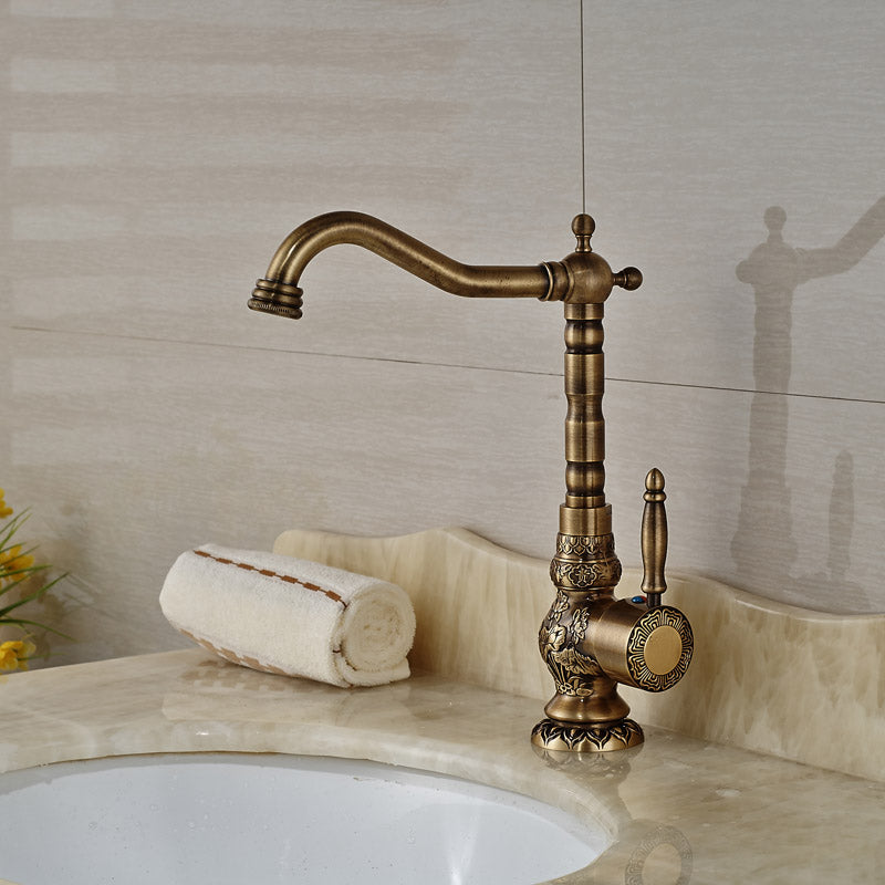 Manabezho Single Handle Deck Mount Antique Brass Bathroom Sink Faucet with Hot / Cold Water Mixer - eCasaMart