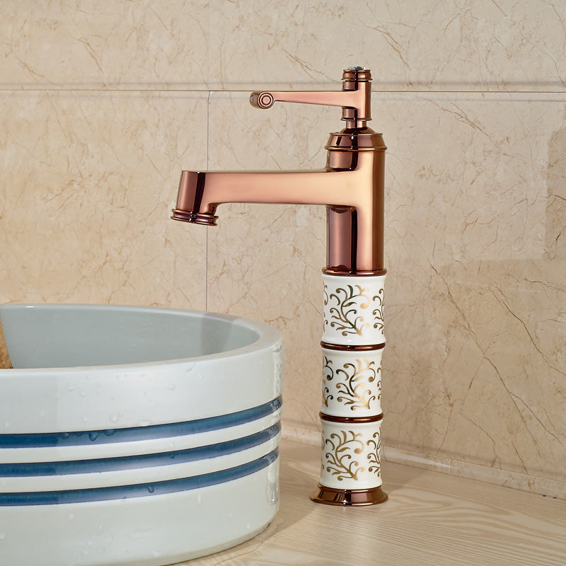 Manoa Deck Mount Single Hole Rose Gold Bathroom Faucet - eCasaMart