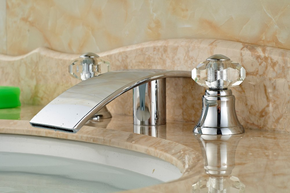 McGalliard Deck Mount Dual Crystal Handle Three Hole Long Spout Bathroom Faucet - eCasaMart