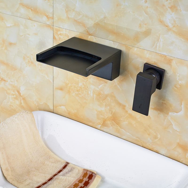 McWay Single Handle Oil Rubbed Bronze Wall Mount Bathroom Faucet - eCasaMart