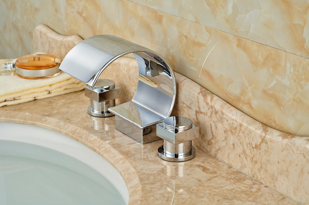 Merkley Deck Mount Dual Handle 3 Hole Chrome Bathroom Sink Faucet - eCasaMart