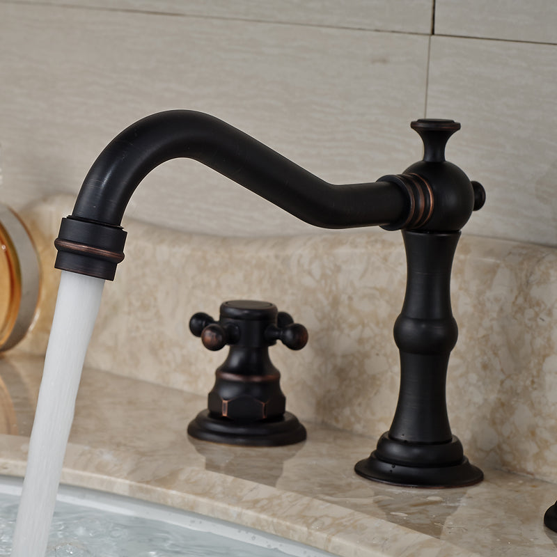 Messina Oil Rubbed Bronze Dual Handle Bathroom Sink Faucet with Hot & Cold Mixer - eCasaMart