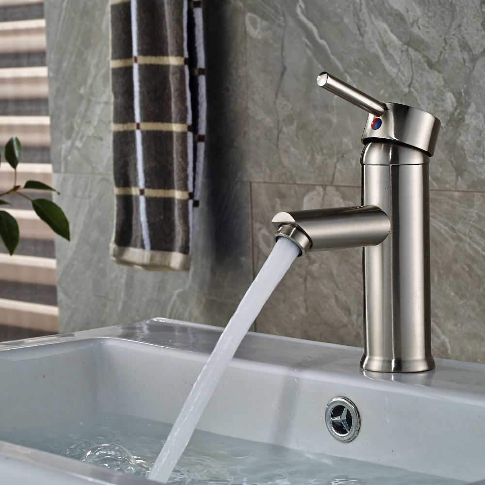 Miche Deck Mount Single Hole Brushed Nickel Bathroom Faucet with Hot / Cold Water Mixer - eCasaMart