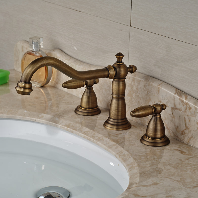 Minneopa Deck Mount Dual Handle Antique Brass 3 Hole Bathroom Faucet with Hot / Cold Mixer - eCasaMart