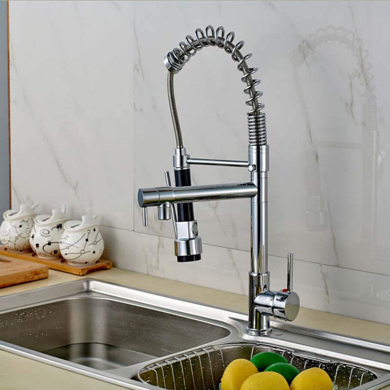Modena Chrome Pull Down Kitchen Faucet with Dual Spouts - eCasaMart