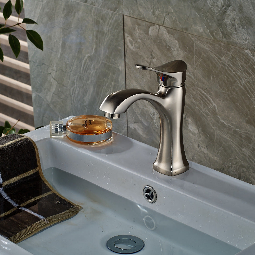 Mokowanis Deck Mount Single Handle Single Hole Brushed Nickel Bathroom Faucet with Hot / Cold Water Mixer - eCasaMart