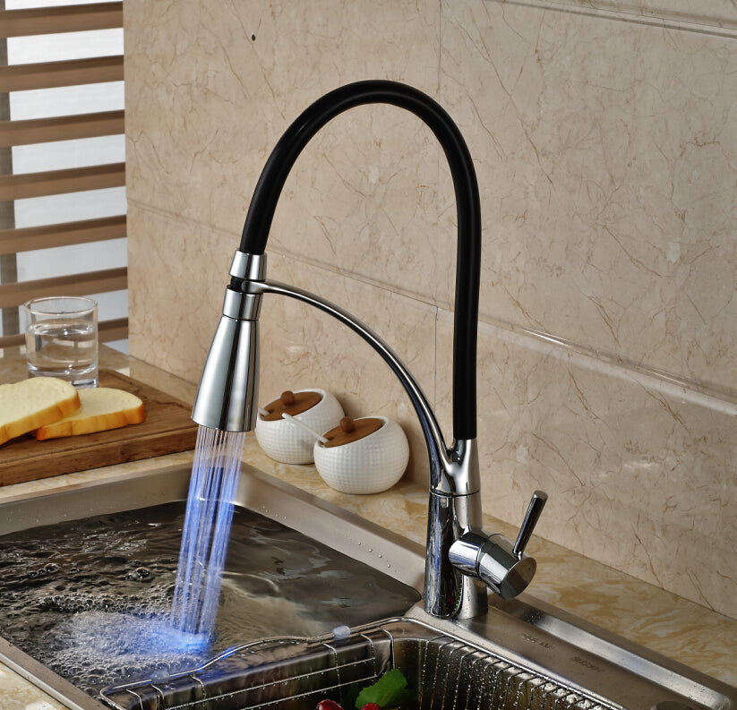 Monza LED Kitchen Faucet with Pull Out Sprayer and Hot Cold Mixer - eCasaMart