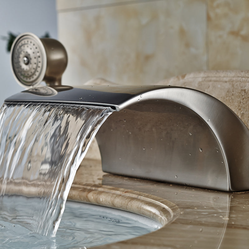 Monza Single Handle Brushed Nickel Waterfall Tub Faucet with Handshower - eCasaMart