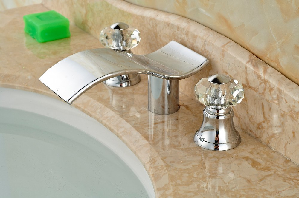 Moore Deck Mount Dual Handle Chrome Waterfall Bathroom Faucet with Hot and Cold Mixer - eCasaMart