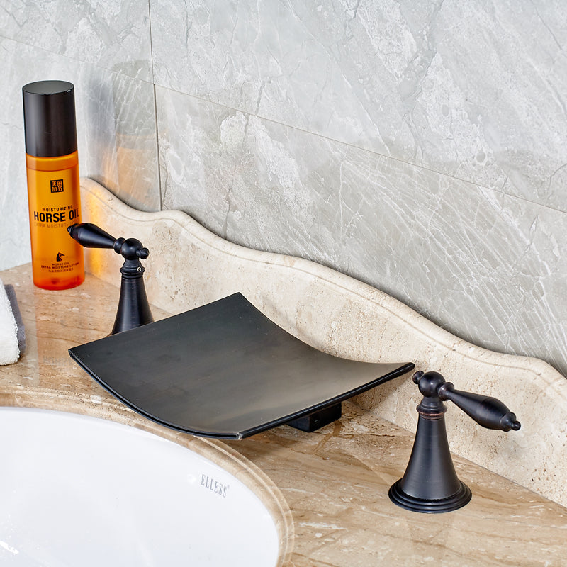 Mossbrae Deck Mount Dual Handle Oil Rubbed Bronze Waterfall Bathroom Sink Faucet - eCasaMart