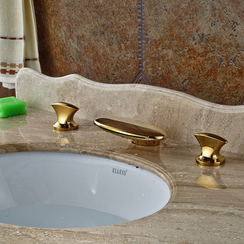 Moxie Deck Mount Dual Handle 3 Hole Gold Bathroom Faucet with Hot / Cold Mixer - eCasaMart