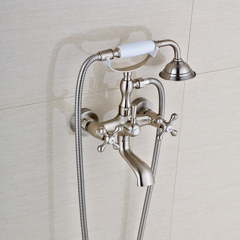 Naples Brushed Nickel Wall Mount Telephone Bathtub Faucet with Rotatable Spout - eCasaMart
