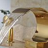Naples Deck Mount Single Handle Waterfall Gold Bathtub Faucet with Handshower - eCasaMart