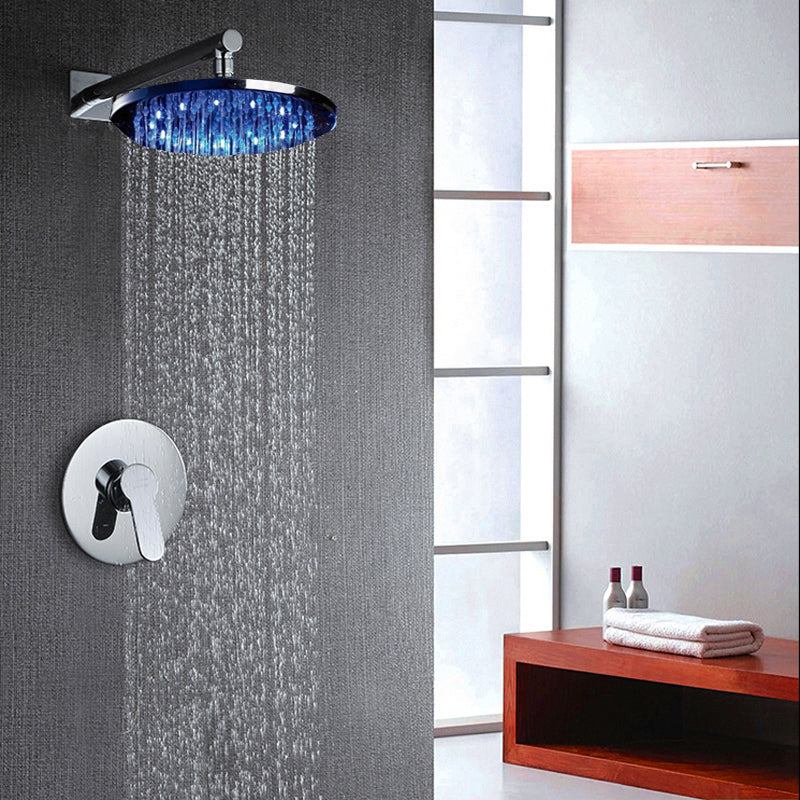 Naples Wall Mount LED Rain Shower System with Rainfall Shower Head & Single Handle Mixer Valve - eCasaMart