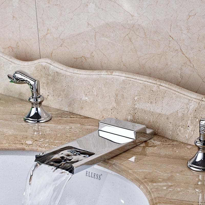 Nooksack 3 Hole 2 Handle Deck Mount Chrome Finish Swan Handle Bathroom Faucet with Hot and Cold Water Mixer - eCasaMart