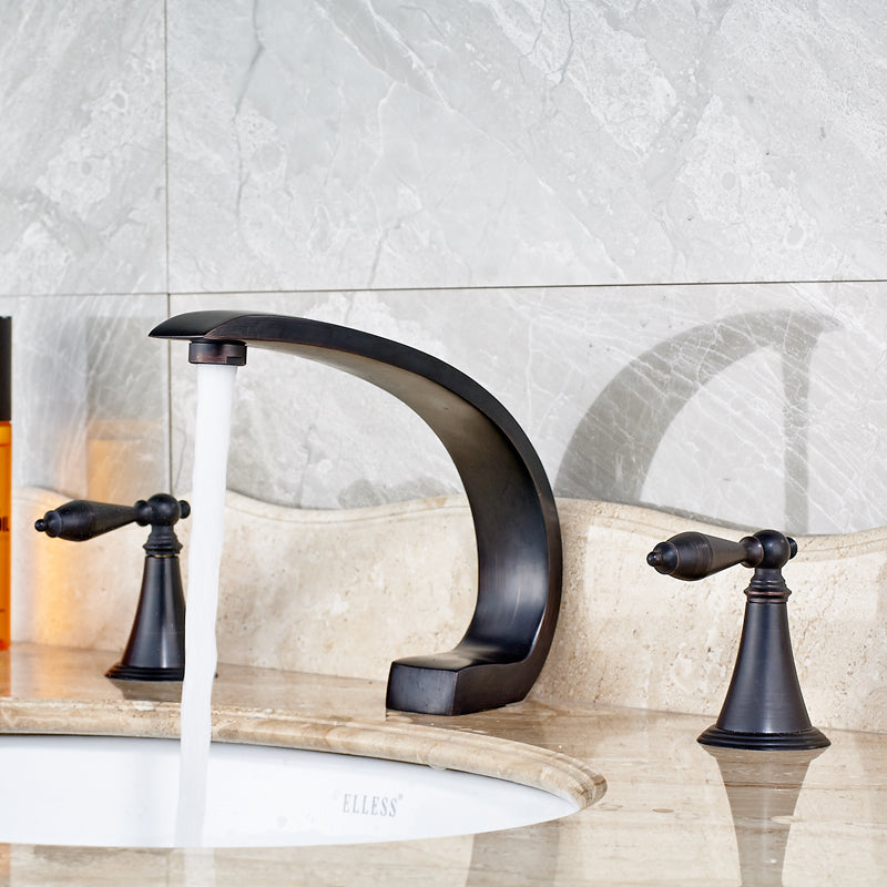 Ohman Oil Rubbed Bronze Dual Handle Widespread Bathroom Sink Faucet - eCasaMart