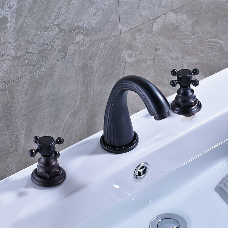 Vernal Deck Mount Dual Handle 8 Inch Widespread Bathroom Faucet with Hot / Cold Mixer - eCasaMart