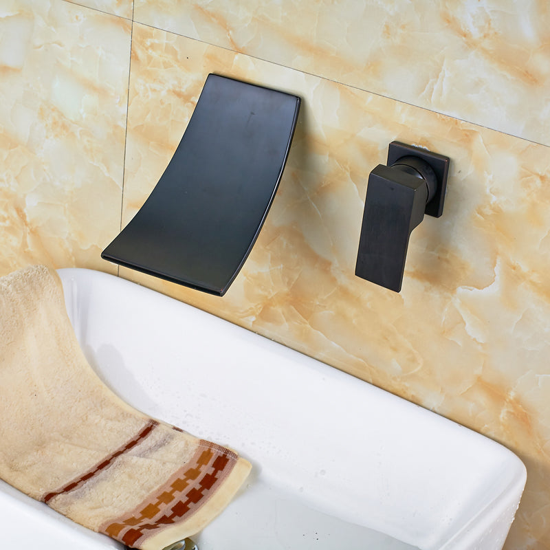 Ouzel Oil Rubbed Bronze Single Handle Waterfall Wall Mount Bathroom Sink Faucet - eCasaMart