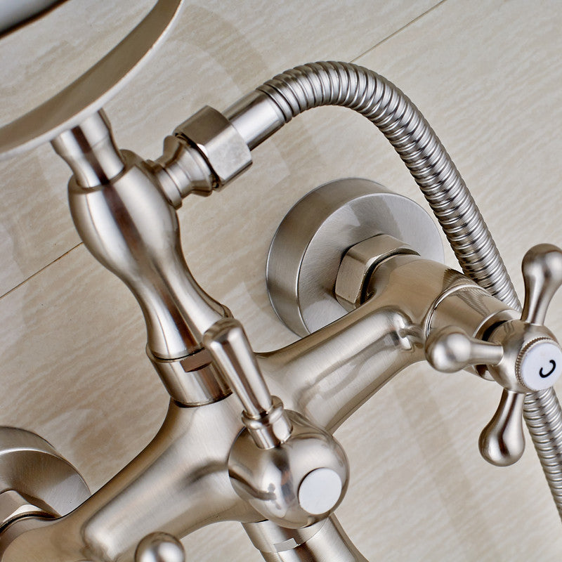 Padua Wall Mount Brushed Nickel Telephone Style Tub Faucet with Hot & Cold Mixer - eCasaMart