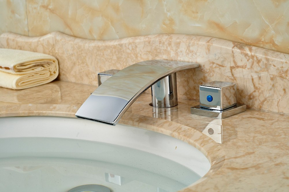 Palouse 3 Hole Deck Mount Chrome Finish 2 Handle Bathroom Sink Faucet with Hot and Cold Water Mixer - eCasaMart