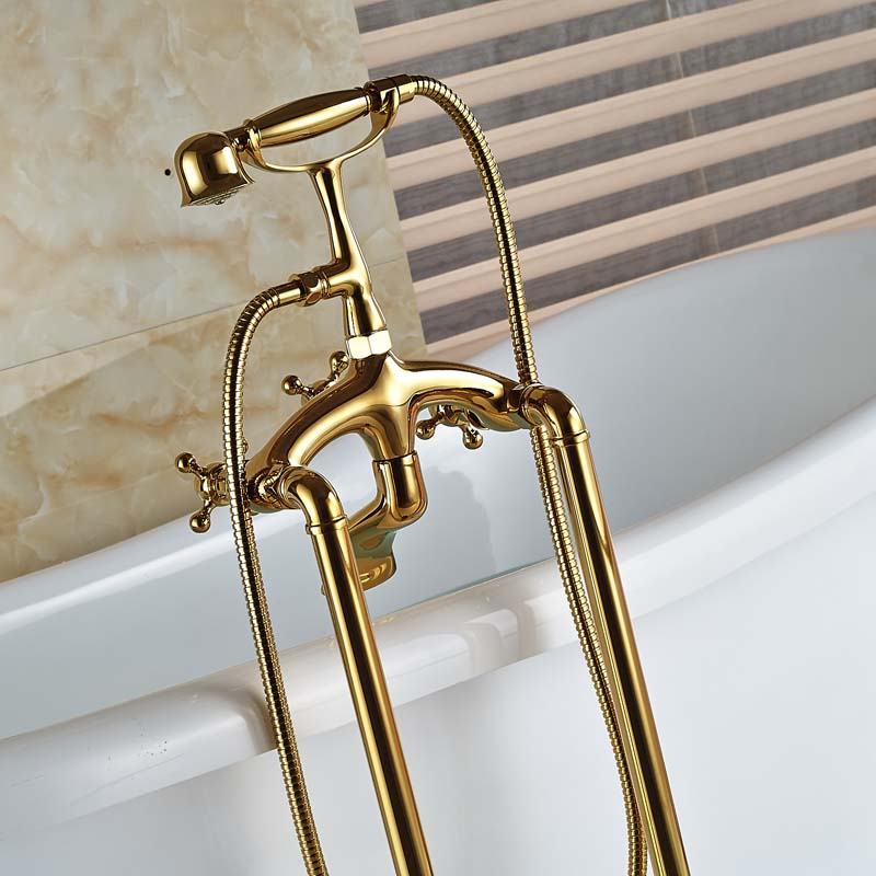 Parma Gold Clawfoot Bathtub Faucet with Handshower - eCasaMart